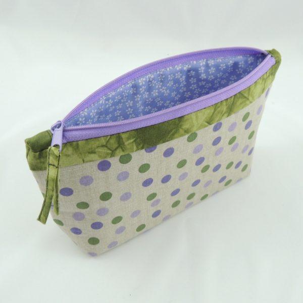 levandulové textilní pouzdro na zip na školní potřeby