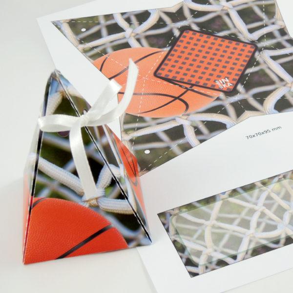 soubor pdf k vytištění na barevné tiskárně k sestavení dárkové krabičky motiv basketbal