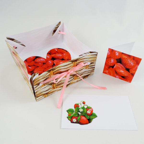 soubor v pdf k vytištění a sestavení barevné dárkové krabičky s jahodami