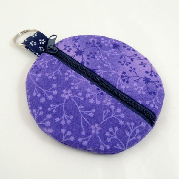 kulaté fialové pouzdro na sluchátka peněženka tmavěmodrý zip kroužek na uchycení