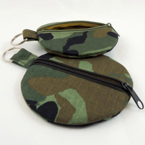 camouflage mankáčová khaki maskovací kulaté pouzdro na sluchátka peněženka na zip kroužek