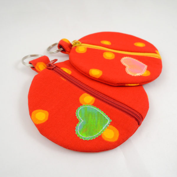 červené kulaté pouzdro na sluchátka peněženka červený nebo žlutý zip kroužek na pověšení
