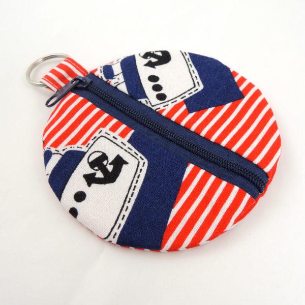 modrá bílá červená obrázek parníku kulaté pouzdro na sluchátka peněženka modrý zip kroužek na pověšení