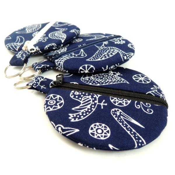 tmavě modré kulaté pouzdro na sluchátka na mince peněženka zip kroužek na pověšení