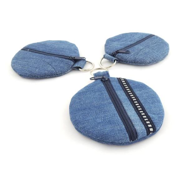 Kulaté riflové pouzdra na sluchátka nebo místo peněženky, zapínání na zip, kroužek na pověšení