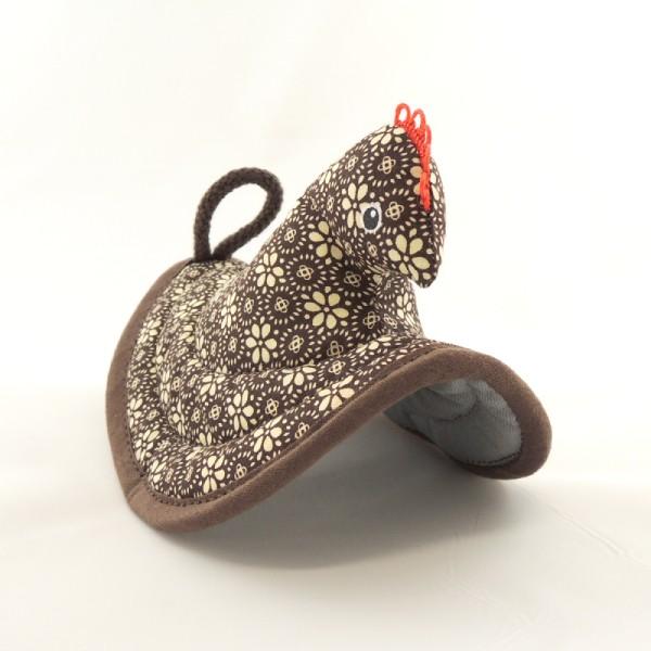 čokoládově hnědá kuchyňská chňapka slepička s hnědým lemováním