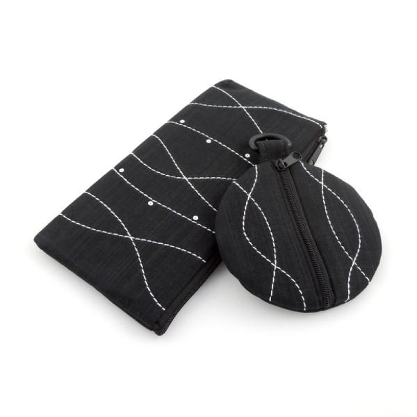 sada sportovní kabelky, pouzdra a peněženky ve stejném stylu z černého softshellu nebo rifloviny s ozdobným bílým prošíváním a drobnými flitry