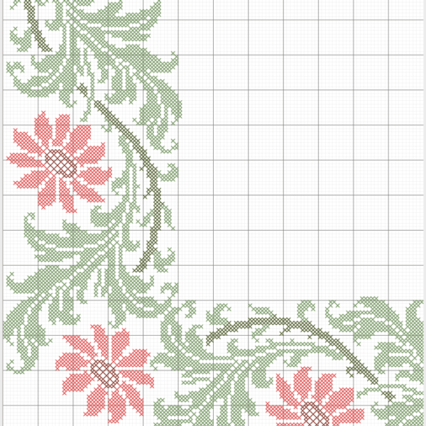 vzor pro křížkovou výšivku široký květinový lem