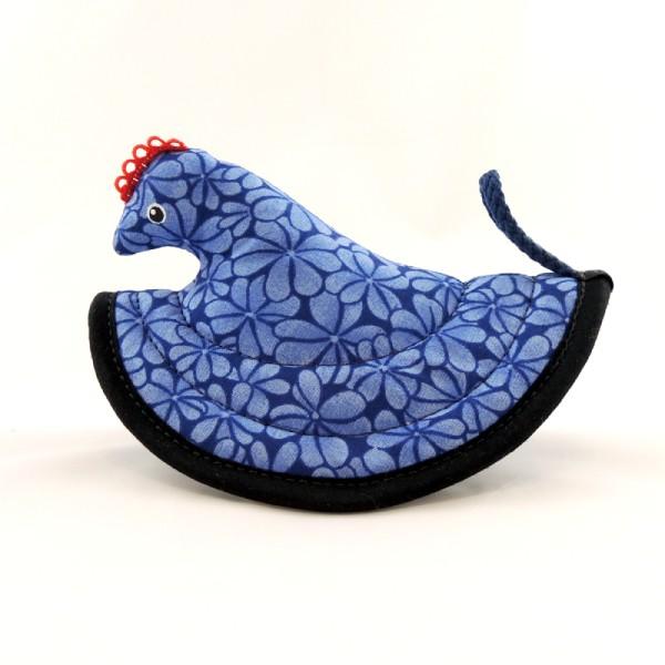 modrá kuchyňská chňapka slepička