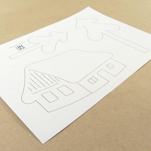 předloha pro zhotovení výzdoby okna s motivem zasněžených stromečků a chaloupky