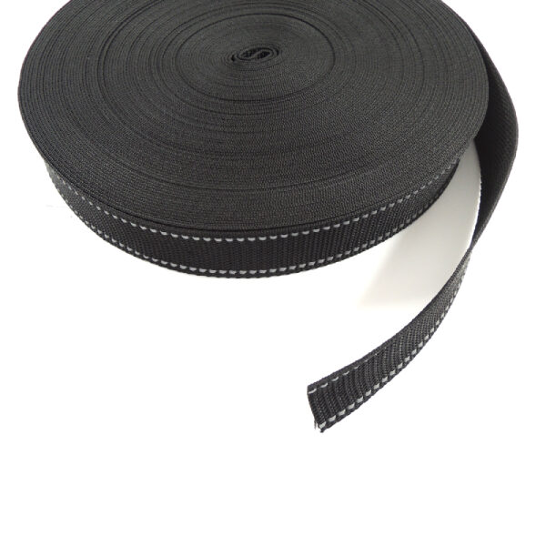 pevný černý popruh 30 mm, reflexní proužky