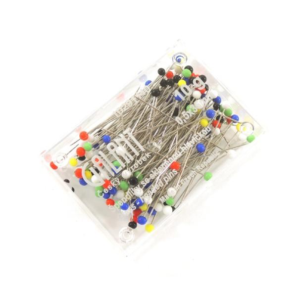 krabička špendlíků se skleněnou hlavičkou