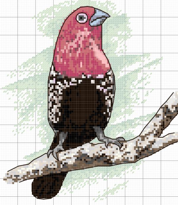 pdf soubor ke stažení s motivem ptáčka na větvičce, křížková výšivka